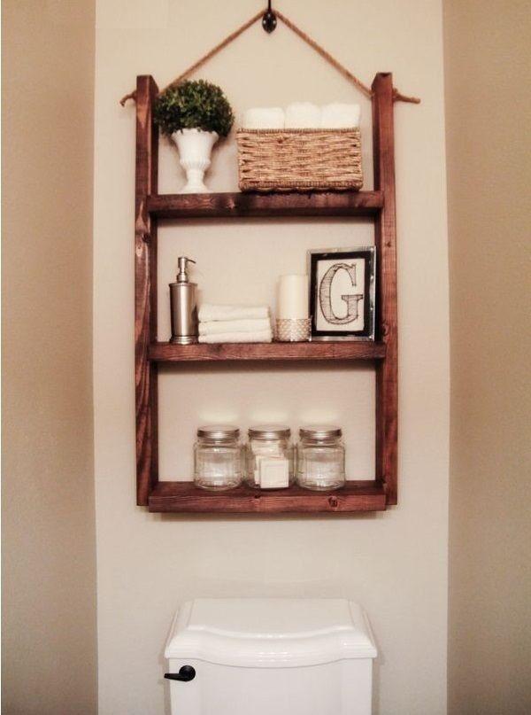 Mueble con repisas para ba o jard n rec mara de madera for Ideas para decorar muebles de bano