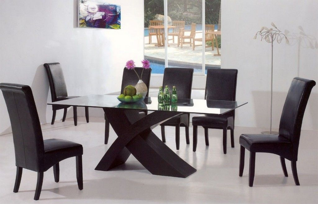 Furniture Modern High Quality Black Uplhostered Leather Dining Custom High Quality Dining Room Sets Design Ideas