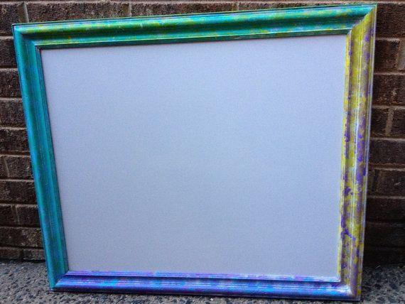 Hand Painted Antique Framed Whiteboard 24 X 28 Multicolor Rustic