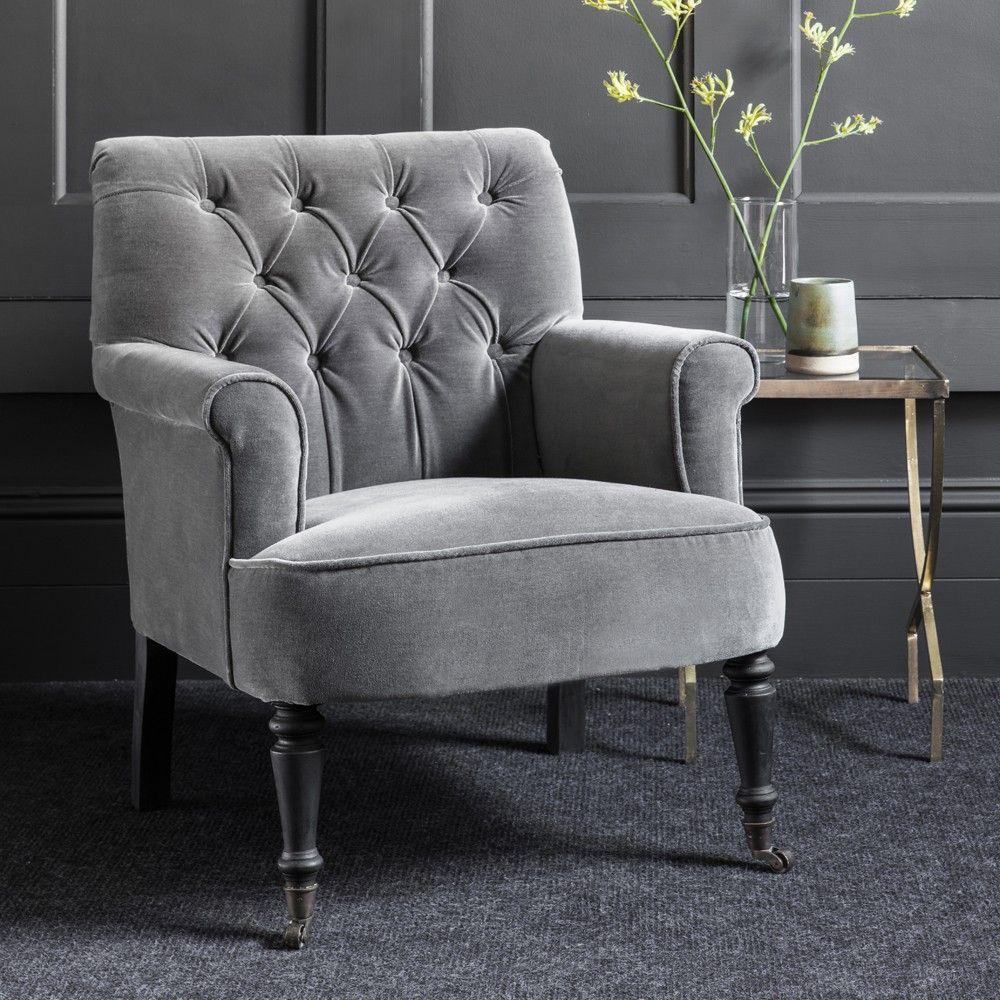 Pimlico Grey Velvet Armchair