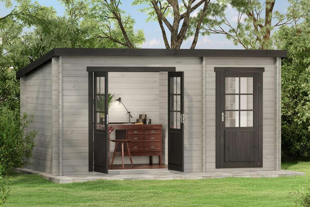 Pultdach Gartenhaus Maria mit Anbau Tiny House