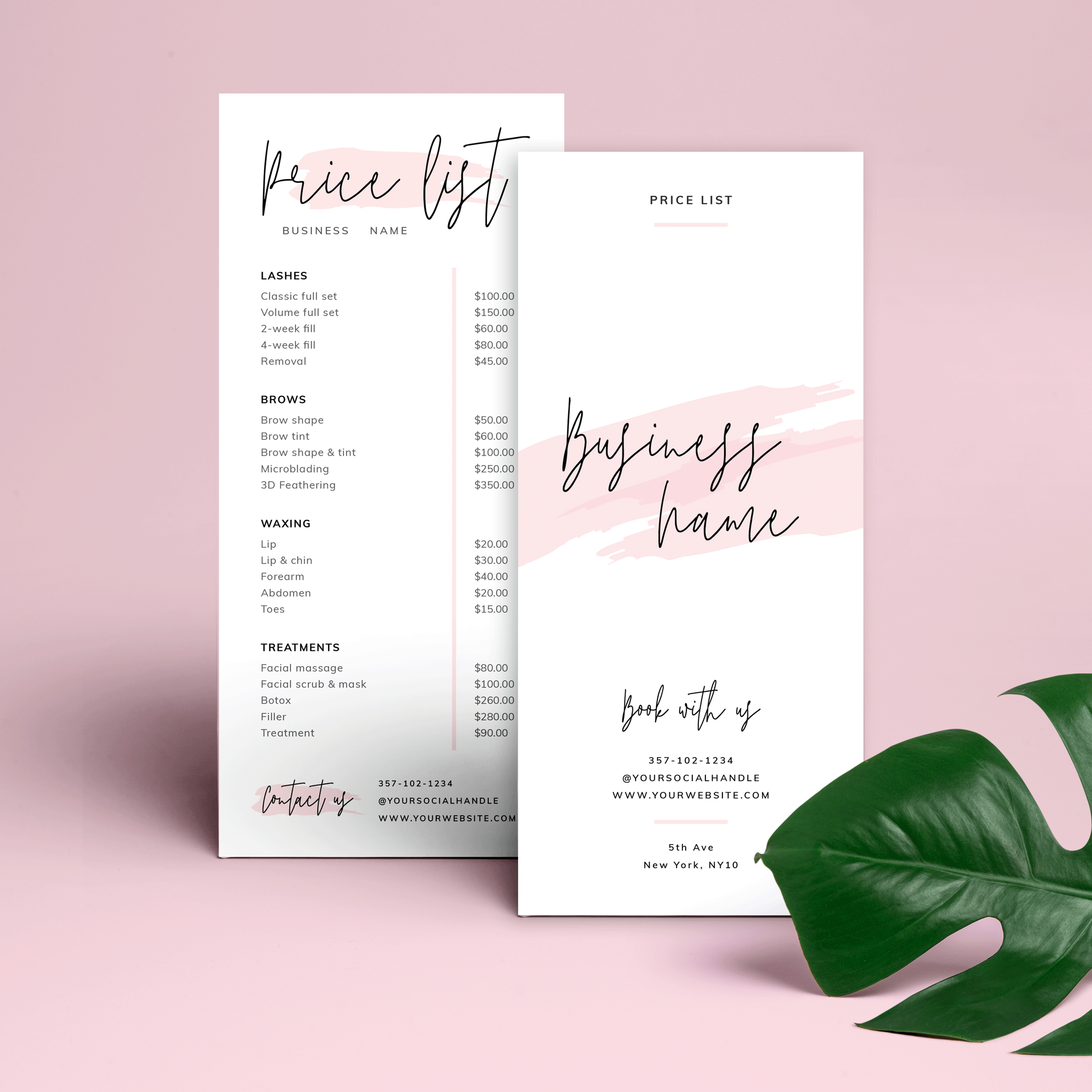 Feminine Price List Template Editable Beauty Pricelist Pink Watercolor In 2020 Price List Template List Template Price List