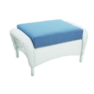 Martha Stewart Living Charlottetown White All Weather Wicker Patio Ottoman  With Washed Blue Cushion
