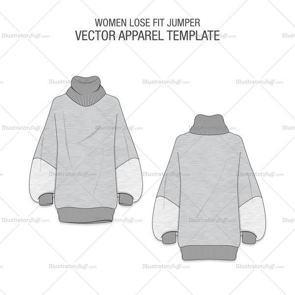5cfb328f95 A fashion flat vector template for Women's Loose Fit Sweater in Melange  Gray Fabric. It