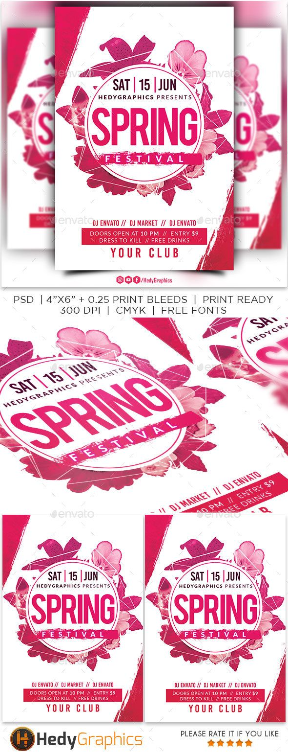 Spring Festival Flyer Flyer Template Event Flyers And Font Logo