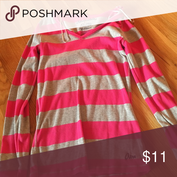 Striped long sleeve t shirt Pink and grey long sleeve shirt Aeropostale Shirts & Tops Tees - Long Sleeve