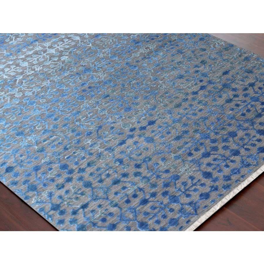Hand-Woven Lorma Mar Blue Handspun Wool and Art Silk Area Rug (2\' x ...