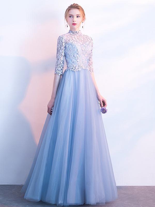 bb2e3fcd3ed6e 2018 Prom Dress High Neck Floor-length 3/4-Length Lace Cheap Prom Dress/Evening  Dress # VB1080