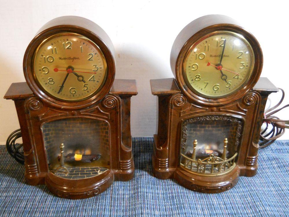 Fireplace Design fireplace clock : 2 Vintage MASTERCRAFTERS Lighted Fireplace Clocks w/Motion Lamp ...