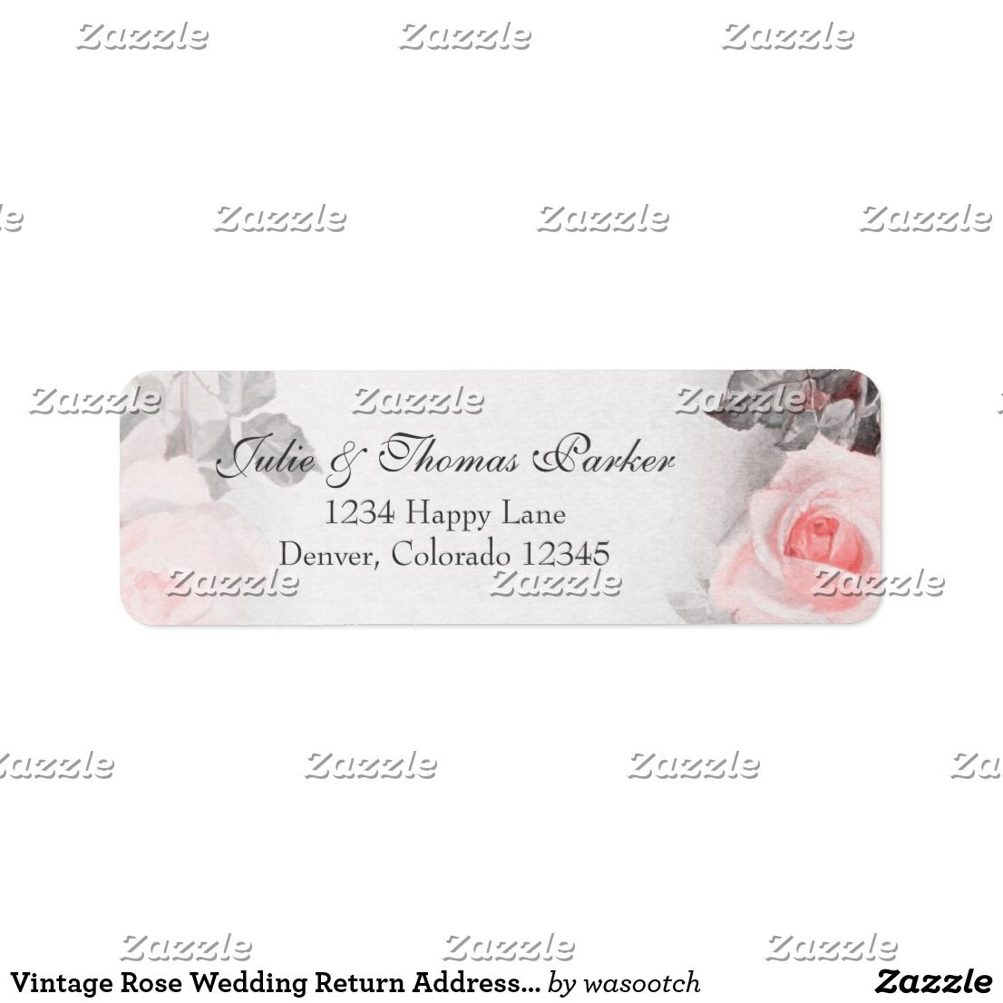 Vintage Rose Wedding Return Address Label