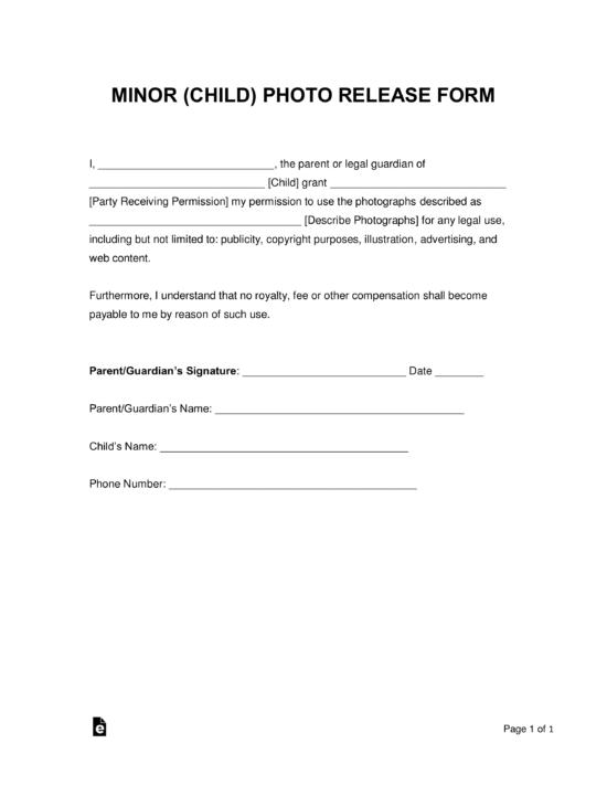 Free Minor Child Photo Release Form Word Pdf Eforms Free