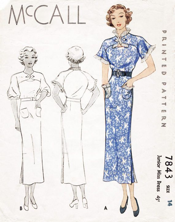 Vintage Sewing Pattern 1930s 30s Dress Reproduction Art Etsy Vintage Sewing Patterns Vintage Sewing Vintage Dresses