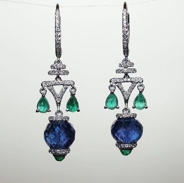 Sapphire and emerald earrings by Saboo at Bahrein jewellery center