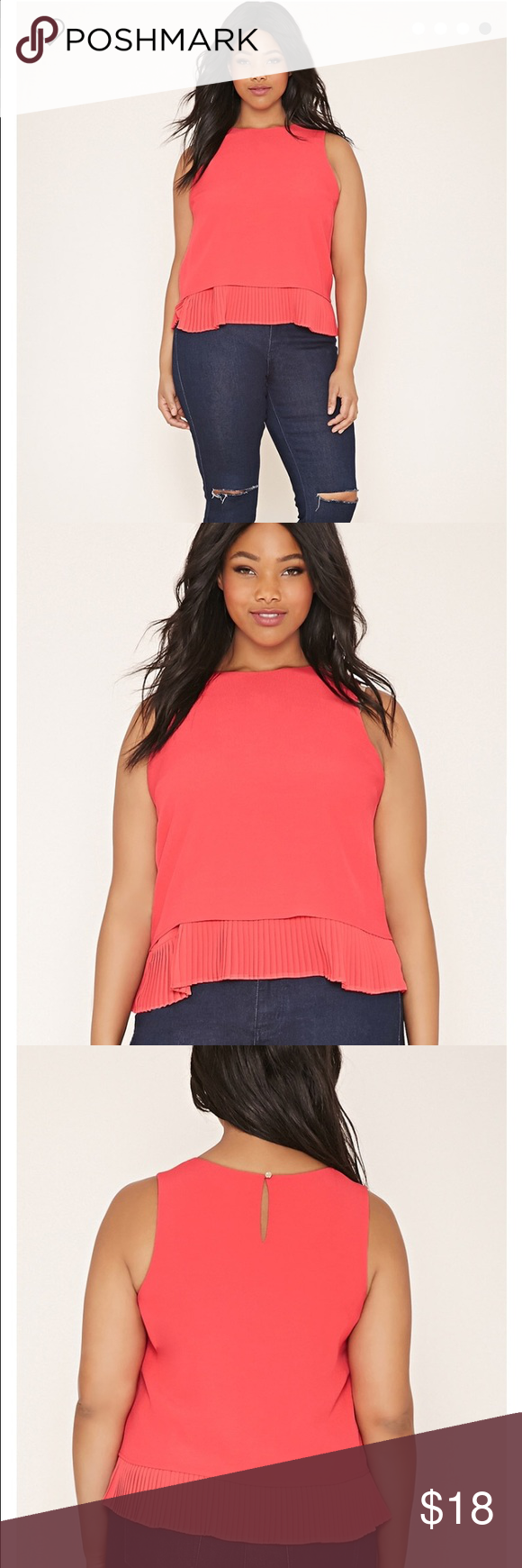Forever 21 Plus coral top NWT size 1x coral pleated top from f21 plus. No trades, thanks for looking 🤗 Forever 21 Tops Blouses