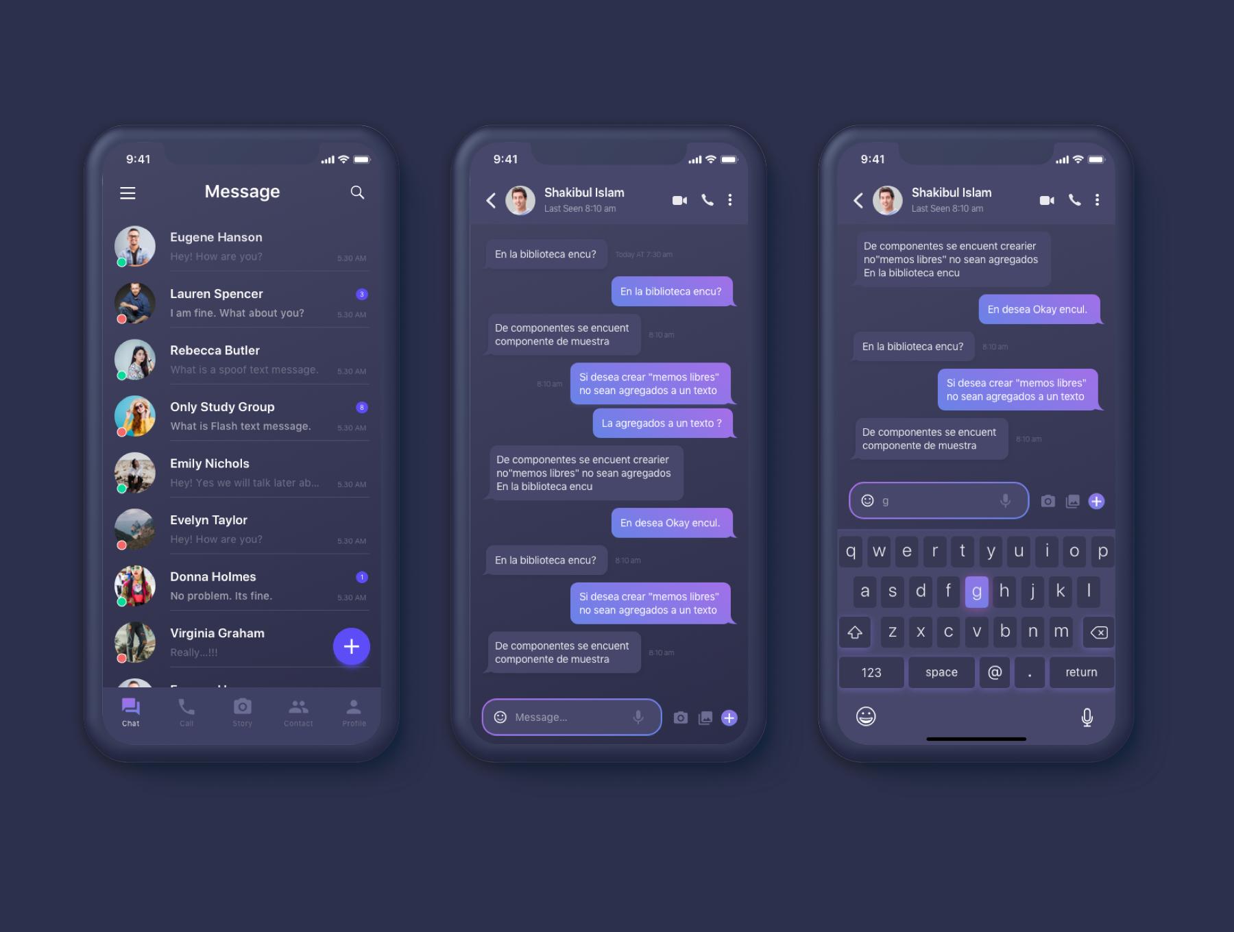 Tango Message UI Kit — UI Kits on UI8   Ui mobile :: Chats   App