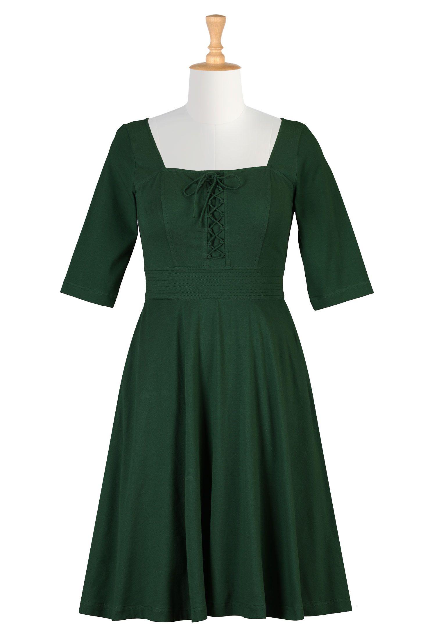 fd52b6674988 Bottle Green Cotton Knit Dresses