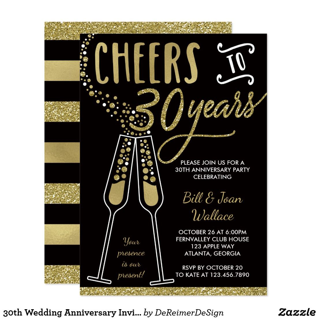 30th wedding anniversary invitation faux glitter invitation