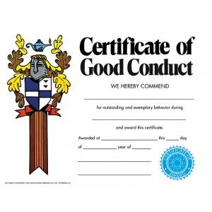 Certificate Of Good Conduct Pack Downloadable Templates