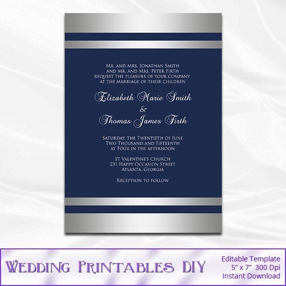 Navy and Silver Wedding Invitation Template - Diy Silver Foil - invitation download template