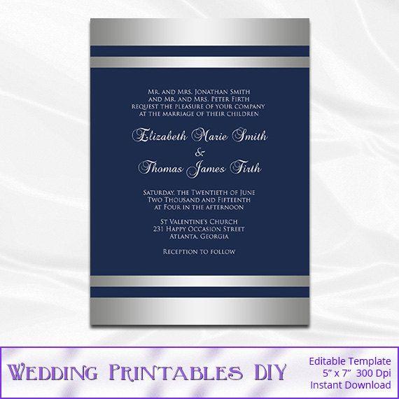Navy And Silver Wedding Invitation Template Diy Silver Foil Stripe