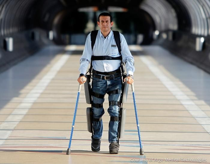 Exoskeleton suit is designed for victims of spinal cord injury.