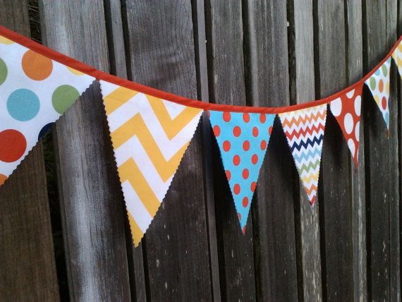 Love this spots and chevron bunting. Party Bunting Flags Chevron Giant Dots, Rainbow colors, Turquoise, Red, Yellow