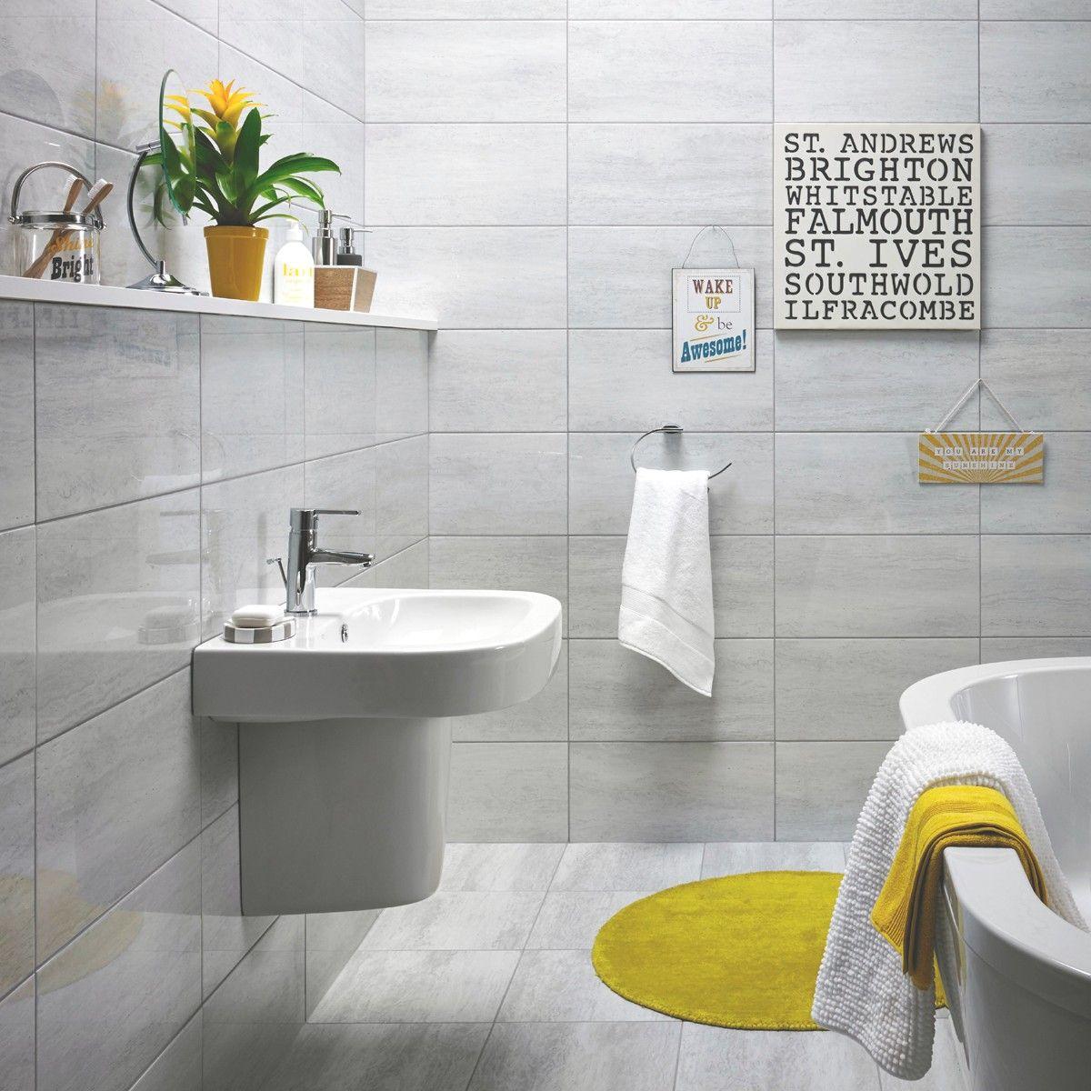 Crown Tiles | 60x30 Inca Travertino Gris Brillo Bathroom Wall Tile ...
