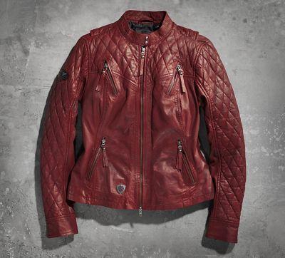 harley-davidson leather biker jacket womens red