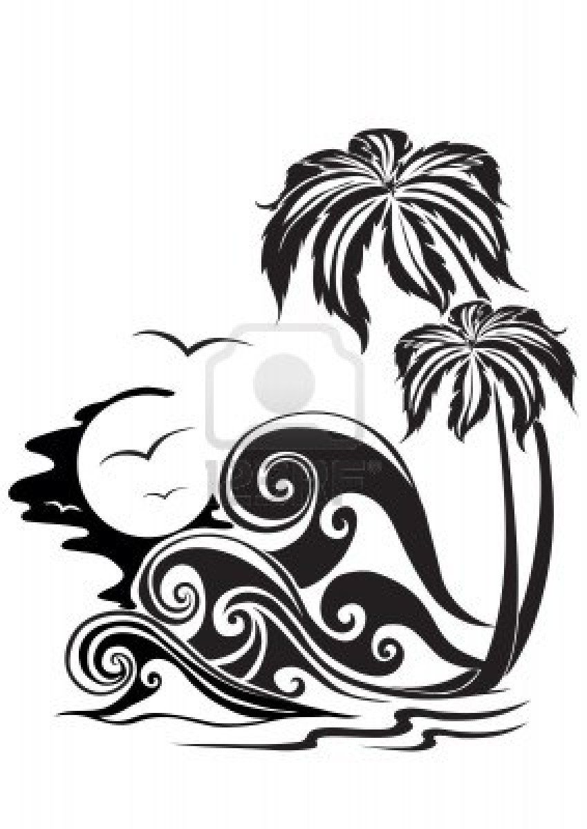 Two palm trees on a background of storming waves Stock Photo - 2121373  Tattoo Designs,