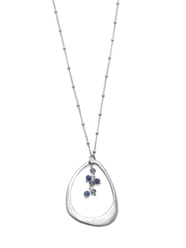 small open drop with sapphires. silver necklace