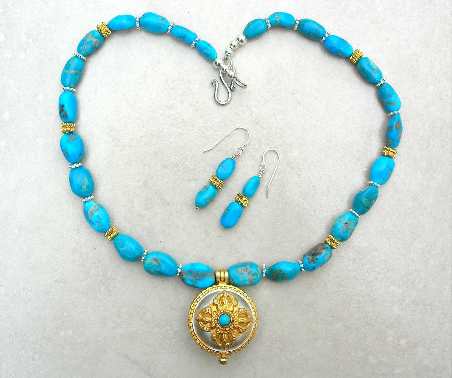 Tibetan Necklace Set Silver Gold & Turquoise by SandraDesigns, $145.00
