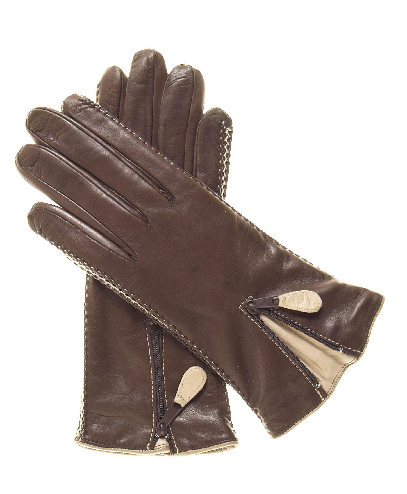 Womens lined leather gloves - Women S Lambskin Cashmere Lined Leather Gloves With Zipper By Fratelli Orsini