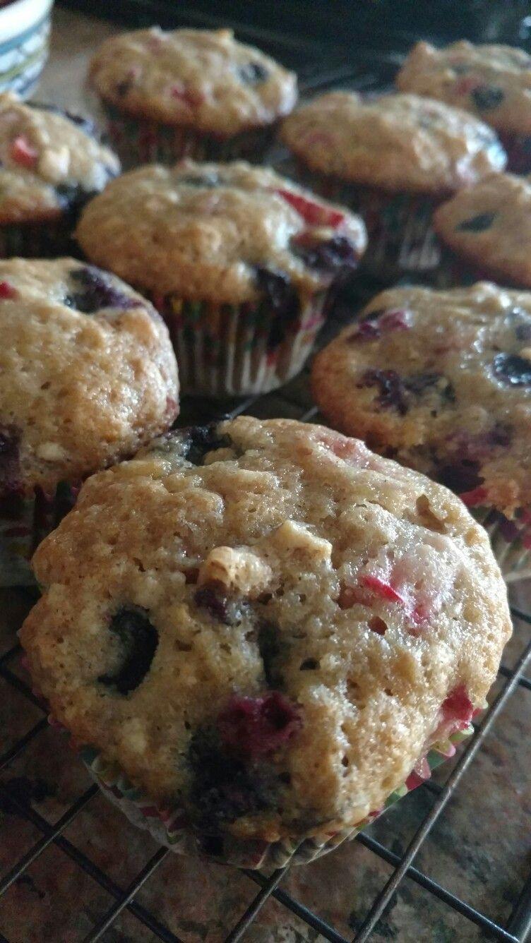 Sunny Morning Muffins-food network Strawberry, Blueberry, Banana, Walnut Muffins