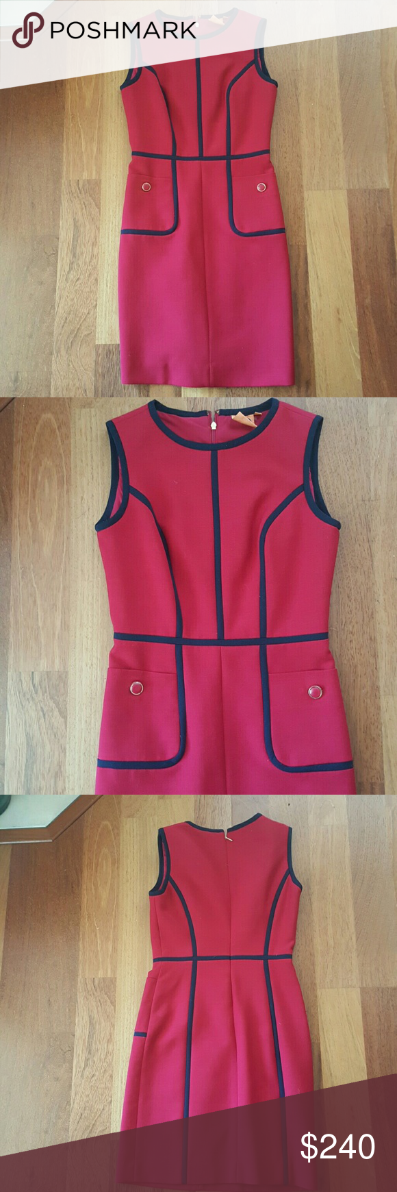 """Tory Burch """"Flora"""" sleeveless dress Shell: wool, polyester, spandex, fully lined, TB logo buttons Tory Burch Dresses Midi"""