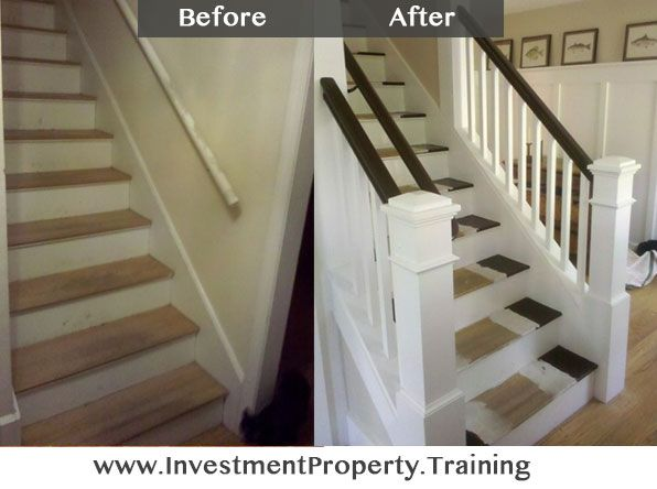 Classy upgrade to a set of stairs to improve the value of this investment property. Amazing how things like this take it from cheap looking house to expensive house.