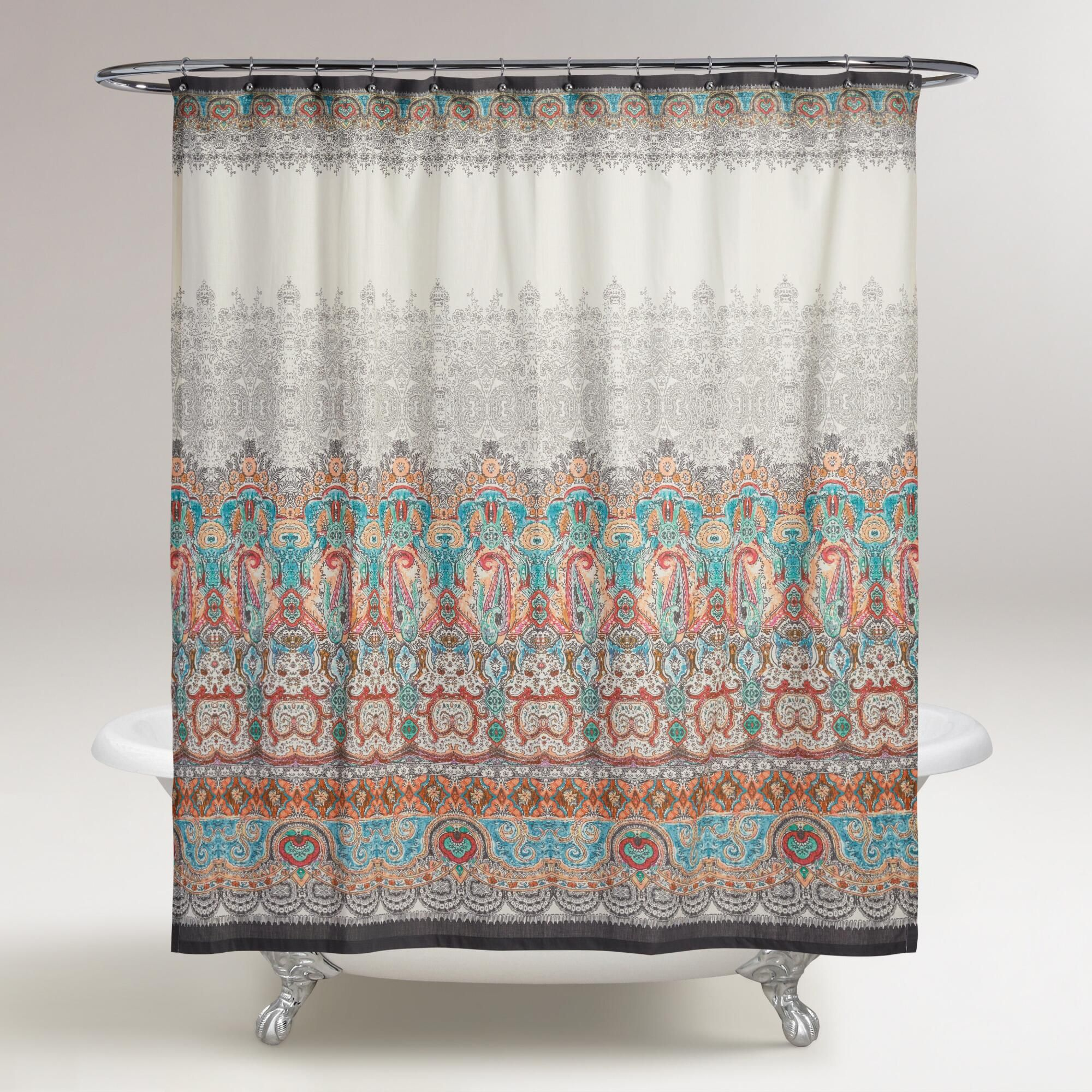 Our Shower Curtain Features A Delicate Multicolor Paisley Medallion Pattern With Hand Sketched Look