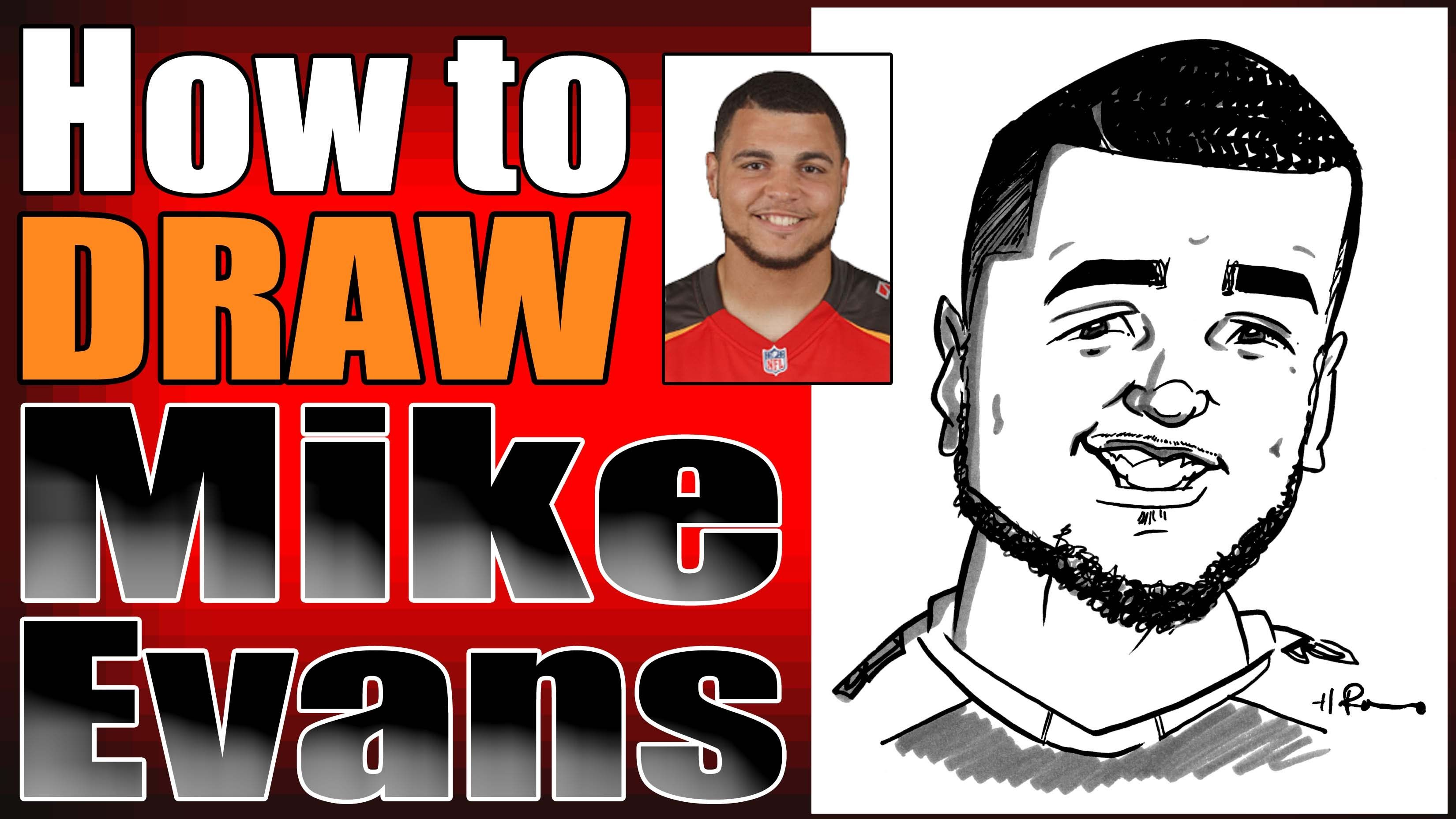 How To Draw A Quick Caricature Mike Evans Caricature Mike Evans Drawings