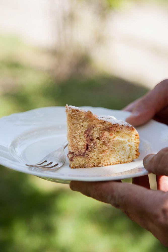 Rhubarb and cardamom seeds cake
