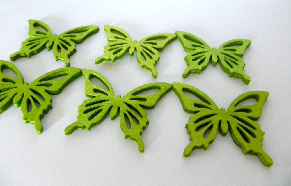 Green Butterflies wood embellishments