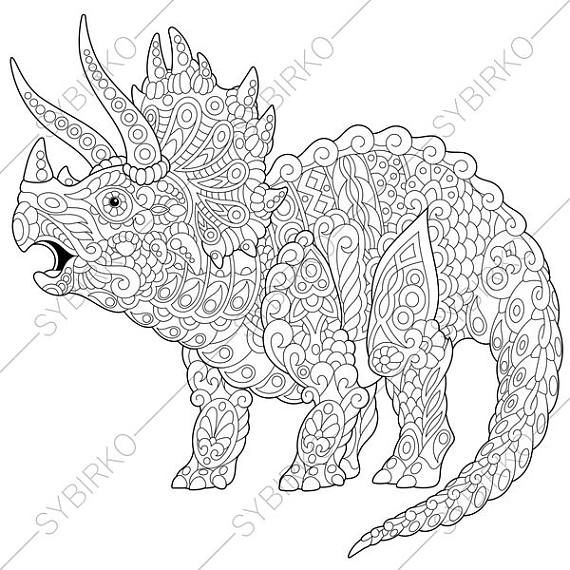 Stylized Triceratops Dinosaur Living At The End Of Cretaceous Period Freehand Sketch For Adult Anti Stress Coloring Book Page With Doodle And Zentangle