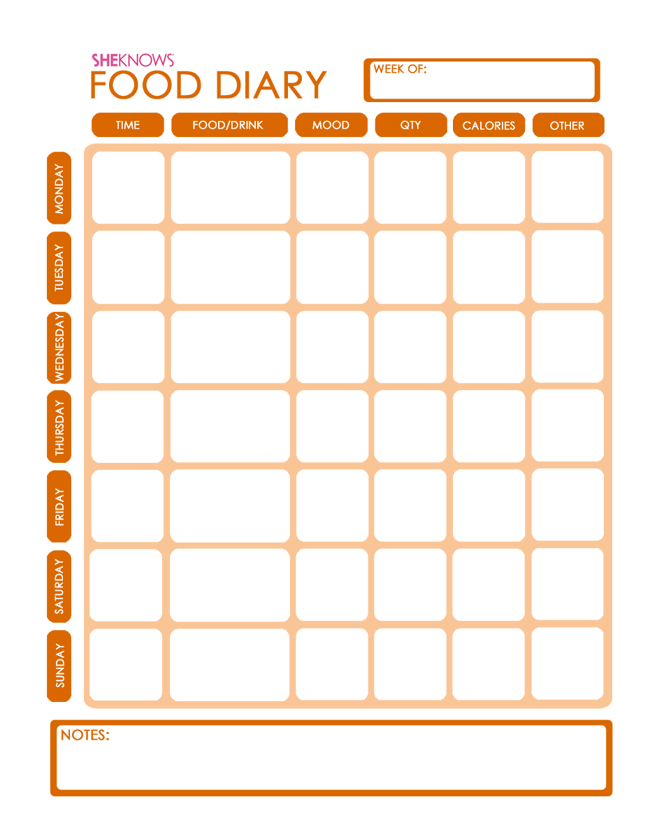 Weight Loss Template Food Diary Template Sizzling Mommysizzling