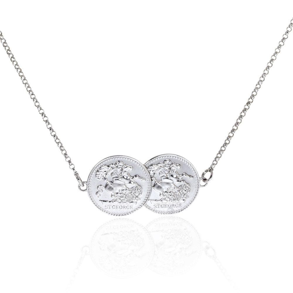 Real Sterling Silver Double Coin Necklace Coin Necklace Necklace Silver