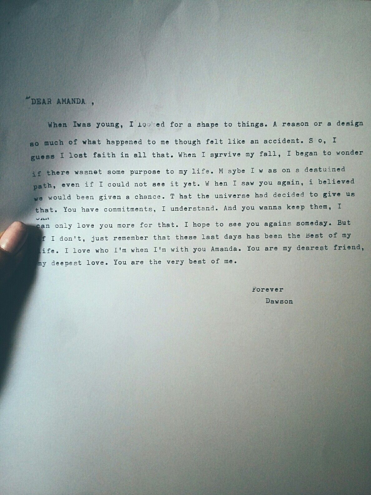 Dawson Letter To Amanda Best Of Me By Nicholas Sparks Typing In