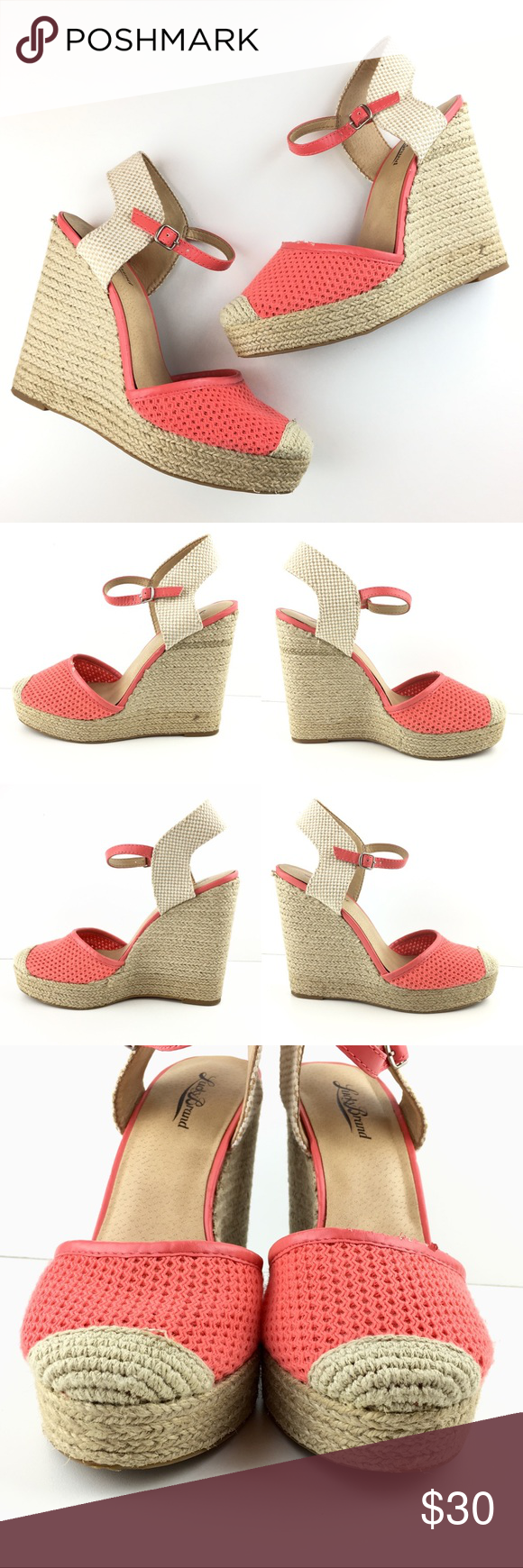 d4718078726 Lucky Brand Reandra Woven Espadrille Wedges Lucky Brand espadrilles -Style   Reandra  Top of the left shoe has an area wear the material is slightly  worn.