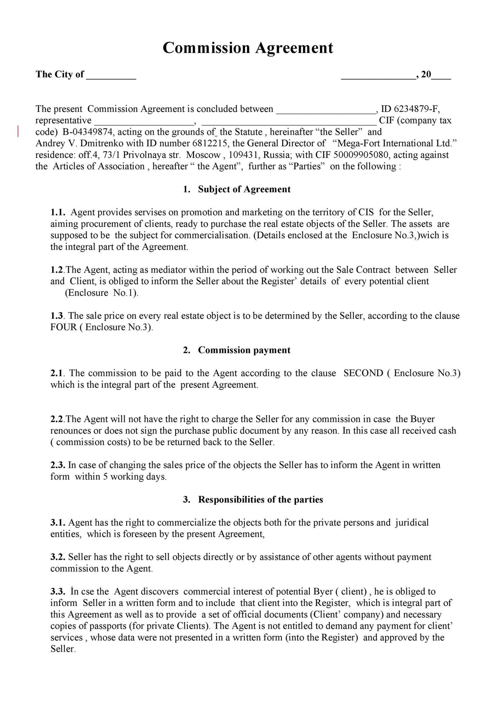 Get Our Example Of Sales Rep Commission Template For Free Contract Template Agreement Real Estate Broker Free real estate contract template