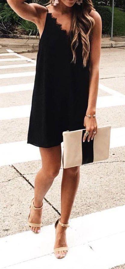 Black dress tan heels summer formal smart | Fashion | Pinterest ...