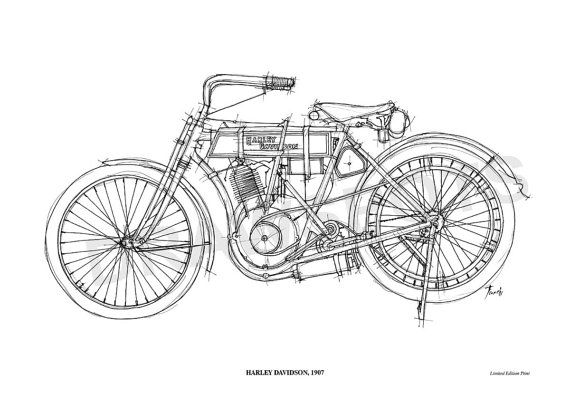 HARLEY DAVIDSON 1907 Original Handmade Drawing Print by