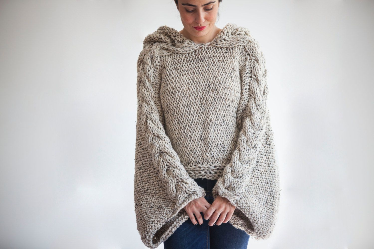 Tweed Beige Angel Sweater Capalet with Hoodie - Over Size Plus Size ...