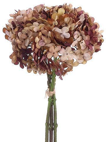 Hydrangea Silk Flower Bundle In Two Tone Brown 12 Tall Flores De Seda Decoracao Com Flores Hortensias Artificiais