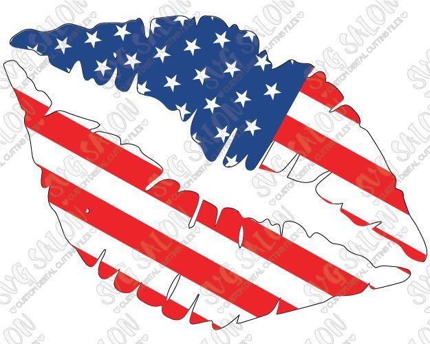 Patriotic American Flag Fourth Of July Lips Custom DIY Vinyl Shirt - Custom vinyl decals decals for shirts